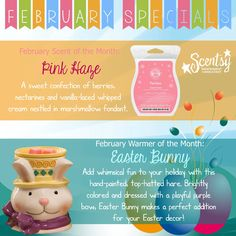 I can't wait for the February Scent & Warmer of the Month - #PinkHaze and #EasterBunny :) Available 2/1!! #ScentsyLove