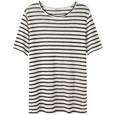 T by Alexander Wang Linen Stripe Tee ($98) ❤ liked on Polyvore featuring tops, t-shirts, shirts, tees, stripe t shirt, black shirt, black t shirt, short sleeve t shirt and linen t shirt