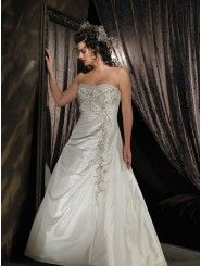 Satin Softly Curved Neckline Embroidered Bodice Ball Gown Wedding Dress