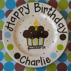 Personalized Birthday Plate - recreate in bottom of glass plate