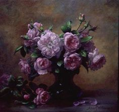 Roses of Sweet Scent and Velvet Touch (oil on canvas) Wall Art & Canvas Prints by Albert Williams