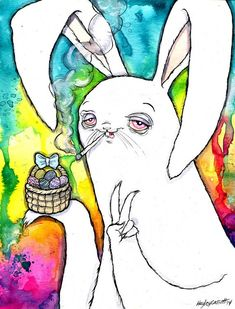 x Archival print of a watercolor and ink illustration. Signed by the artist. Easter Drawings, Trippy Drawings, Trippy Wallpaper, Fantasy Drawings, Dope Art, Ink Illustrations, Watercolor And Ink, Easter Bunny, Doodles