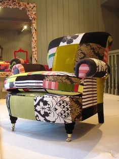 its like having a patchwork chair found at http://freshome.com/2008/07/31/funky-patchwork-furniture/