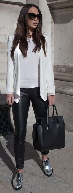 With A White Blazer, White Top, Black Pants, Black Tote And Silver Oxfords | Johanna Olsson