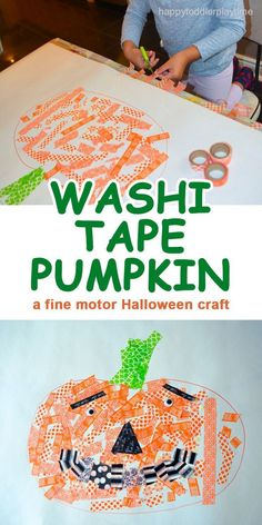 A fun fine motor skill Halloween craft using washi tape with lots of scissor practice as well! Halloween Crafts For Kids, Halloween Activities, Fall Crafts, Holiday Crafts, Arts And Crafts, Halloween Projects, Halloween Books, Holiday Activities, Halloween Pumpkins