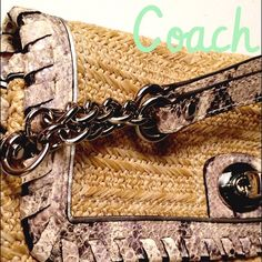 Straw Coach clutch w snakeskin detail. New without tags Coach straw and snakeskin clutch with removable wrist strap. Perfect condition Coach Bags
