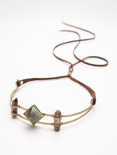 Annie Crystal Crown | American made recycled brass crown with triple statment stones.  Adjustable leather cord.  May also be worn as a hat band.