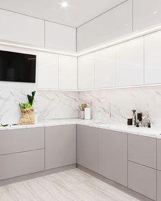Modern Kitchen Renovation, Modern Kitchen Interiors, Luxury Kitchen Design, Kitchen Room Design, Home Decor Kitchen, Interior Design Kitchen, Small Modern Kitchens, Kitchen Cupboard Designs, Kitchen Modular