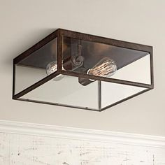 Lamps Plus Montesidro Bronze and Glass Outdoor Ceiling Light Hallway Ceiling Lights, Square Ceiling Lights, Low Ceiling Lighting, Outdoor Ceiling Lights, Outdoor Post Lights, Semi Flush Ceiling Lights, Patio Lighting, Flush Mount Lighting, Ceiling Light Fixtures