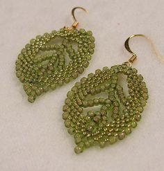 Beadwoven Olive Green Leaf Earrings