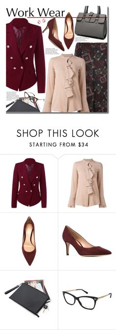 """""""Work Wear"""" by beebeely-look ❤ liked on Polyvore featuring Lareida, Gianvito Rossi, Tom Ford, WorkWear, ruffles, sammydress, officestyle and workblazer"""