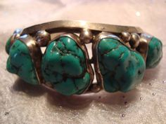 Turquoise Nugget Sterling Silver Navajo Cuff Bracelet Old Pawn Estate | eBay