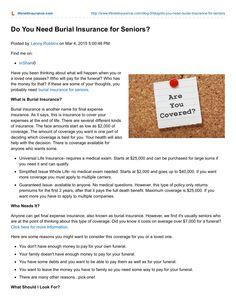 Do You Need Burial Insurance For Seniors by LifeNet Insurance Solutions via slideshare