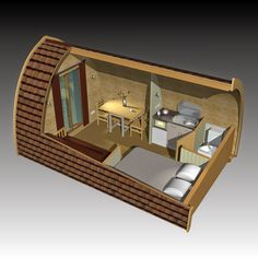 POD House: Unique little life experiences - dome house Tiny Cabins, Tiny House Cabin, Tiny House Living, Tiny House Design, Small House Plans, Arched Cabin, Camping Pod, Camping Gear, Great Buildings And Structures