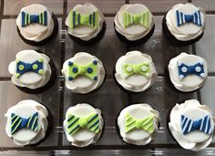 """Little man"" boy baby shower. Bow tie fondant cupcake toppers."