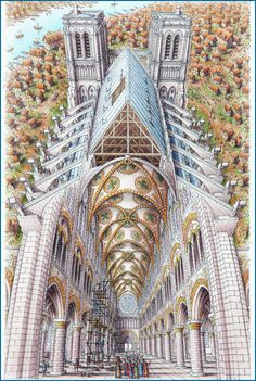 Inside-out drawing of Notre Dame Cathedral (finished 1345 AD) Pencil crayon and pen on paper 185mm x 290mm. Stephen Biesty 2007.