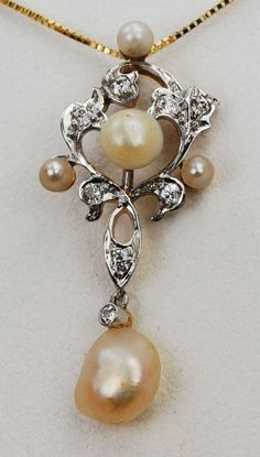 Antique Victorian 14K Gold & Platinum Filigree Diamond Pearl Lavaliere Pendant