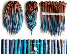 Wool Dreadlocks woolen brown-blue dreads by BullfinchHandmade (Hair Braids Brown) Dread Hairstyles, Braided Hairstyles, Evening Hairstyles, Braided Updo, Ribbon Hairstyle, Synthetic Dreadlocks, Synthetic Hair, Hair Cuffs, Viking Hair
