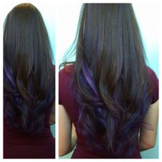 New Hair Color Purple Peekaboo Brown Ideas Dark Hair Purple Highlights, Hair Color Purple, Purple Streaks, Dark Purple, Dark Brown, Hair Colors, Dark Red, Purple Ombre, Hair Color Tips