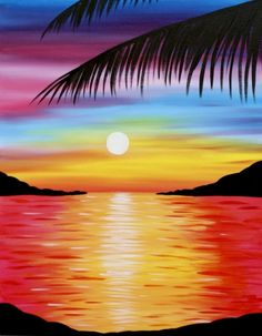 Check out Pretty Paradise at Old Spaghetti Factory - Sacramento - Paint Nite Event Hears! Check out Pretty Paradise at Old Spaghetti Factory - Sacramento - Paint Nite Event Cute Canvas Paintings, Easy Canvas Art, Easy Canvas Painting, Simple Acrylic Paintings, Diy Painting, Easy Landscape Paintings, Sunrise Painting, Beach Sunset Painting, Painting Art