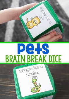These pet theme brain breaks for kids are the perfect free printable gross motor activity for your preschool and kindergarten. Get your kids wiggles out with these easy to print break break cubes. #brainbreak #pettheme #brainbreaksforkids #kindergarten #preschool #indoorrecess #grossmotoractivity #pets #freeprintable