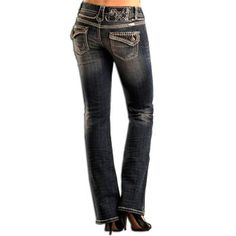 Rock and Roll Cowgirl Low Rise Back Pocket Flap Jeans