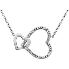 Sterling Silver Diamond Interlocking Heart Pendant