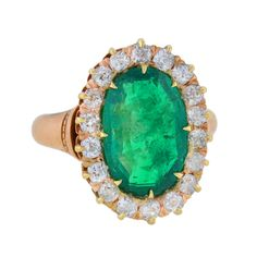 Victorian Natural Colombian Emerald & Diamond Ring 4.37ct center | 1stdibs.com