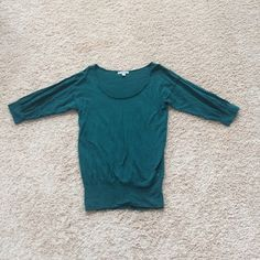 American Eagle scoop neck sweater Beautiful green sweater from American Eagle. It is a longer length, but it is not a tunic. Size small. American Eagle Outfitters Sweaters