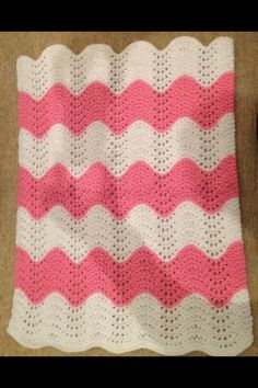 Chunky pink and white wave hand knitted blanket 50x70 cm - The Supermums Craft Fair