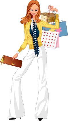 Shopping Clipart, Fashion Art, Love Fashion, Fashion Beauty, Girl Fashion, Fashion Clipart, Woman Illustration, Fashion Design Sketches, Cute Images