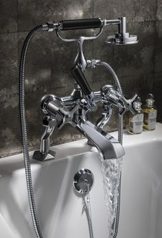 The ultimate in bathroom luxury - Waldorf Chrome Bath Filler with Black Lever and Chrome Crosshead Handles from Crosswater. http://www.crosswater.co.uk/product/crosswater-taps-and-mixers-bath-taps-and-fillers/waldorf-black-lever-bath-shower-mixer-with-kit-wf422dc-blv/