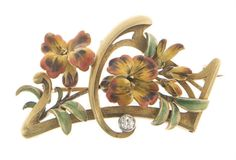 AN ART NOUVEAU ENAMEL AND GOLD BROOCH, BY GUSTAVE-ROGER SANDOZ. Designed as a red, yellow and green enamel foliate cluster accented by an old European-cut diamond, mounted in 18k gold, circa 1900