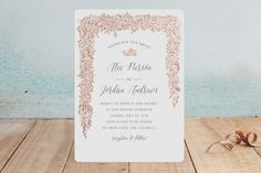 """Elegant Floral Garland"" - Rustic, Floral & Botanical Foil-pressed Wedding Invitations in Gold by Erin Deegan."