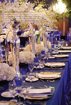 royal blue wedding decorations 10 - Fashion and Wedding Royal Blue Wedding Decorations, Wedding Decorations On A Budget, Gold Wedding Theme, Budget Wedding, Wedding Themes, Wedding Centerpieces, Wedding Colors, Seaside Wedding, Wedding Parties