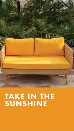 Check out the new range of outdoor furniture by IDUS. This beautiful yellow sofa will give a completely fresh summer vibe to your outdoor space and motivate you to spend more time soaking the sun! Yellow Sofa, Outdoor Sofa Sets, Outdoor Garden Furniture, Summer Vibes, Range, Patio, Sun, Fresh, Space
