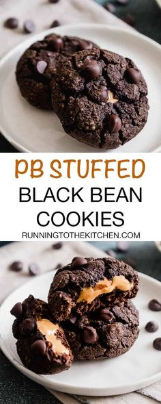 These black bean cookies are stuffed with creamy peanut butter for a decadent and gooey center. They're a healthier, nutritious and gluten-free way to indulge! Chocolate Avocado Brownies, Chocolate Chip Shortbread Cookies, Toffee Cookies, Fudge Cookies, Yummy Cookies, Cookie Cakes, Chocolate Tarts, Bundt Cakes, Chocolate Truffles