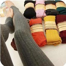 Wholesale 2014 New Leggings For Women Casual Warm Winter Stirrup Legging Line Stripe Knitted Thick Slim Leggings Super Elastic(China (Mainland))