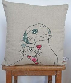 Dog and Cat Cushion by florencev4 on Etsy