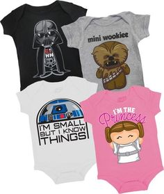 Star Wars mini's Might have to get one of these for the new addition coming to the family! my cousin will not want for star wars. Cute Kids, Cute Babies, Moda Geek, Star Wars Onesie, Mini Mundo, Shirt Designs, Everything Baby, Baby Kind, Baby Fever