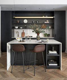 An Edwardian apartment in London with a Parisian feel   Homes & Gardens Oak Parquet Flooring, Floors, Kitchen Design, Kitchen Decor, London Apartment, Apartment Interior, French Apartment, Parisian Apartment, Apartment Living