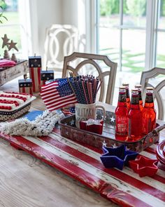 Fourth Of July Decor, Happy Fourth Of July, 4th Of July Celebration, 4th Of July Decorations, 4th Of July Party, Table Decorations, July 4th, Striped Cake, Wood Flag