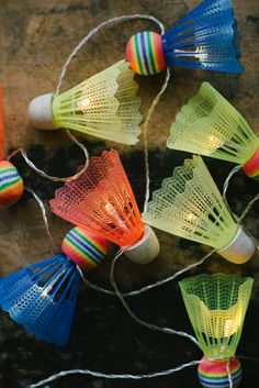 DIY shuttlecock lights garland