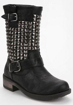 MOTOR biker boots by Wanted   Size 7.5  Studded (all studs are intact. None loose or missing)  No scuffs at all.  Only sign of wear is a bit at the right boot zipper and a bit at the very top of the boots.  These were honestly worn 2-3 times and forgotten about. Originally $65 | eBay!