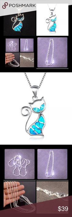 "Bundle of S925 SS Necklaces GREAT PRICE One Solid Silver water wave chain. Your choice of  Length 18"" or 20"" super sparkly catches so much like and shines like diamonds! Can't take a pic of it without it sparkling!!!   Solid 925 Silver kitty chain! It's kitty season now!!! Blue opal inlay body and blue topaz cat eyes! Gorgeous statement piece use this pendant with water wave chain for an even more dramatic look!   Add any pendant you want to the water wave chain!  Comes with another diff…"