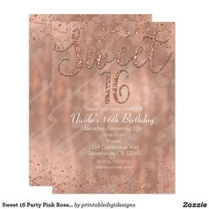Sweet 16 Party Pink Rose Gold Glamour Invitations