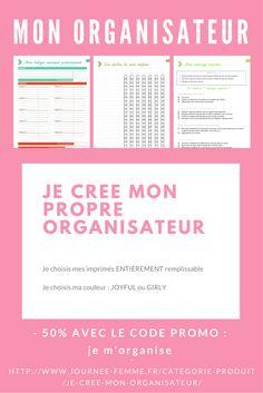 Deux versions « Joyful » ou « Girly », remplissables en ligne.  Choisissez votre imprimé : http://www.journee-femme.fr/categorie-produit/je-cree-mon-organisateur/