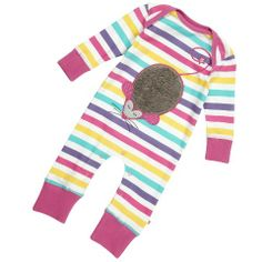 Mouse Applique Playsuit by baby designer brand Piccalilly!  Playsuit wearing never was such fun!  Filled with stripey goodness, this colourful baby playsuit comes complete with a cuddly and super soft mouse!