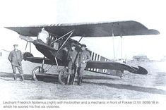 Leutnant Friedrich Noltenius(right) with his bother and a mechanic in front of Fokker D.VII 5056/18