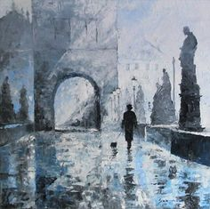 Prague Charles Bridge morning walk by Yuriy Shevchuk, 2007.